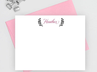 Personalized note cards with laurel leaves design.