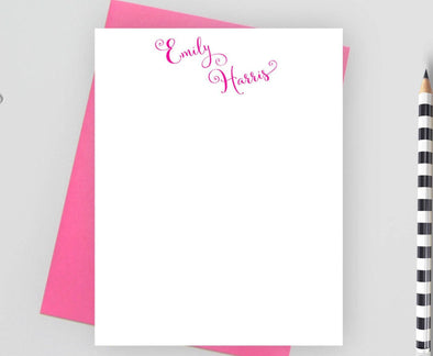 Modern style personalized note cards with pink envelope,