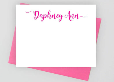 Modern personalized note cards with pink envelope.