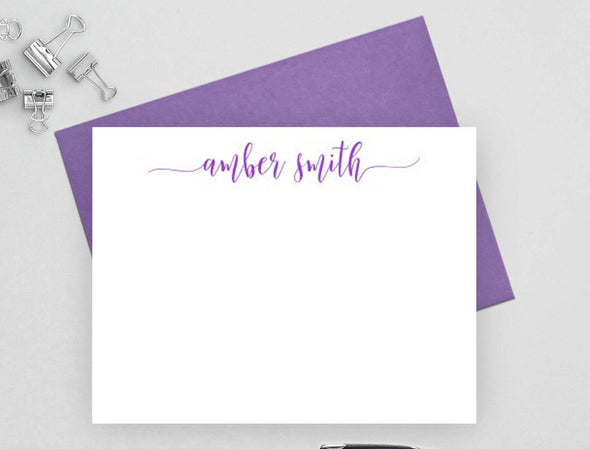 Personalized modern note cards with purple envelope.