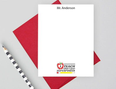 I teach what's your superpower personalized notecards.