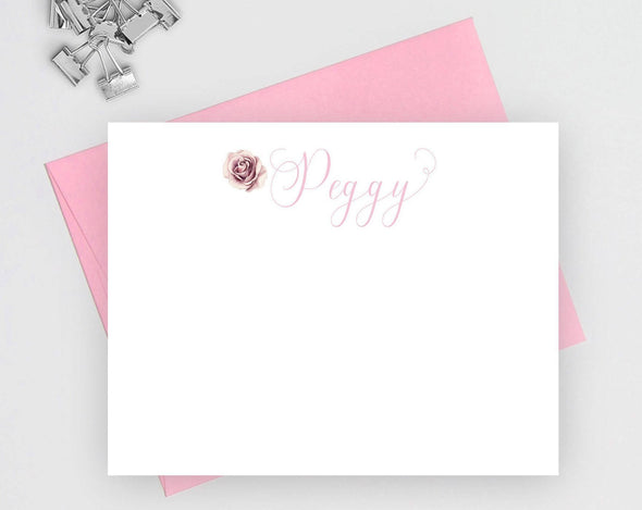 Rose design note cards for women.