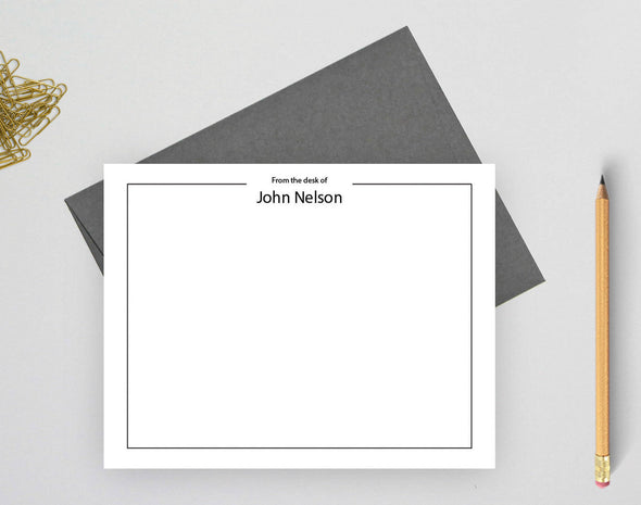 From the desk of personalized note cards with gray envelope.