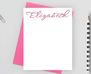 Personalized calligraphy note card with pink envelope.