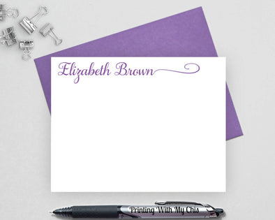 Calligraphy personalized note card set with purple ink.