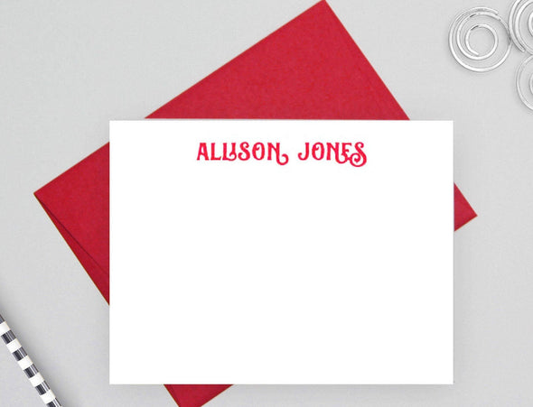 Personalized modern stationery with red envelope.