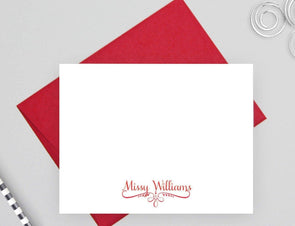 Personalized stationery note cards for women with red envelope.