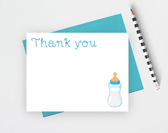 Baby Shower Thank You Note Cards, Baby Bottle Theme