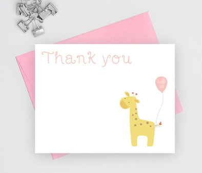 Girl giraffe theme baby shower thank you note cards.