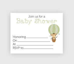 Digital download baby shower invitation with monkey theme.