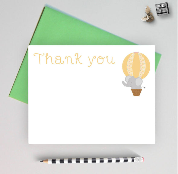 Elephant Theme Baby Shower Thank You Note Cards, Gender Neutral