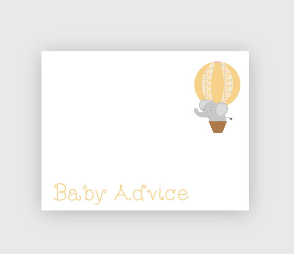 Elephant baby shower baby advice cards