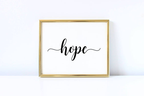 Calligraphy hope wall art print for home decor.