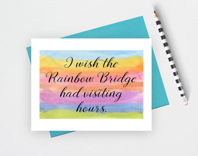 Rainbow bridge memorial card for loss of pet.