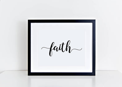 Calligraphy faith religious art print.
