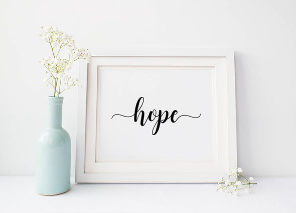 Calligraphy hope wall art print for home decor download.