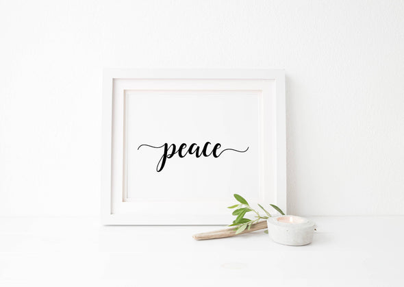 Calligraphy peace art print for wall decor digital download.