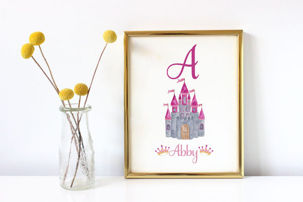 Personalized fairy tale castle art print for little girl's bedroom decor.