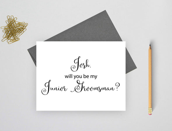 Personalized will you be my junior groomsman wedding card.