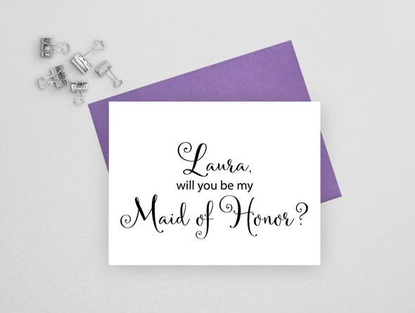 Personalized will you be my maid of honor wedding card.