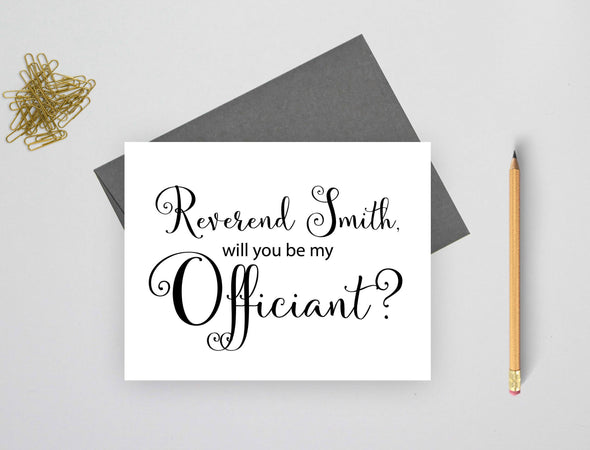 Personalized will you be my officiant wedding card.