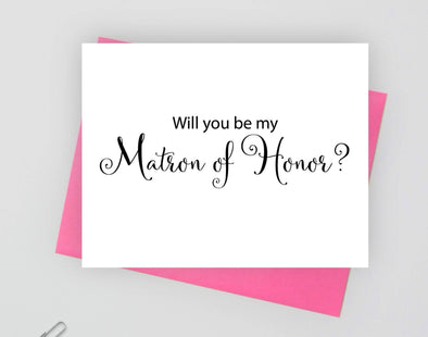Wll you be my matron of honor wedding card.
