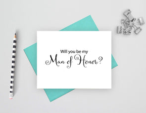 Will you be my man of honor wedding card.