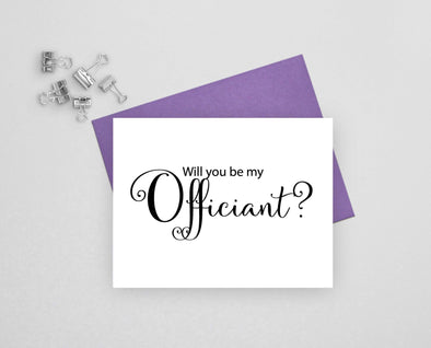 Will you be my officiant wedding card.