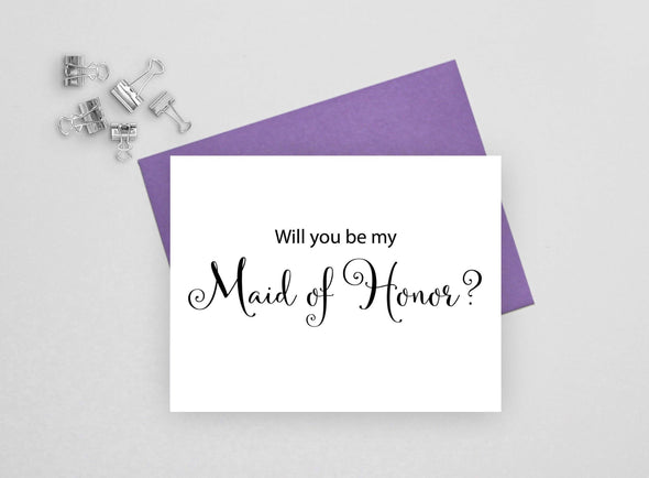 Will you be my maid of honor wedding card.