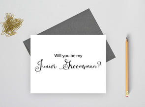 Will you be my junior groomsman wedding card.