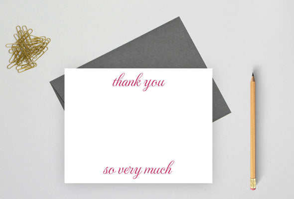 Thank you so very much note cards are great for writing wedding thank yous.