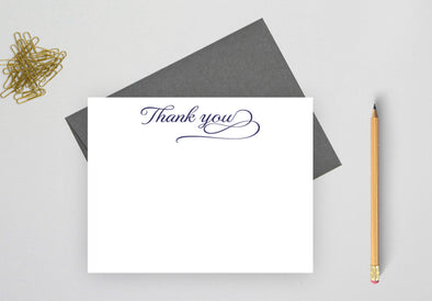 Thank you wedding cards with gray envelope.