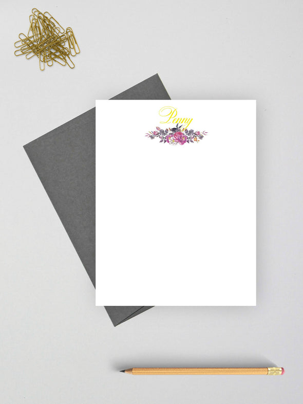 Personalized floral note cards with gray envelopes.
