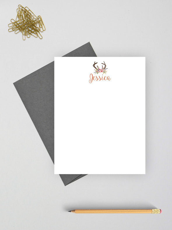 Boho styled note card with gray envelope.