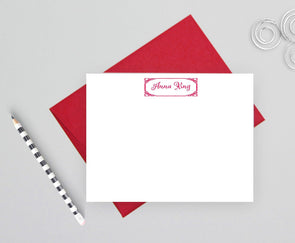 Decorative design personalized note cards.