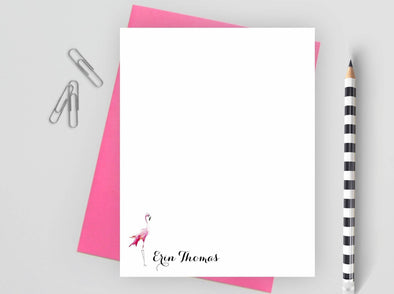 Personalized note card with flamingo design and pink envelope.