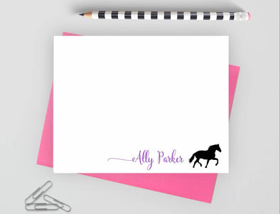 Personalized note cards with horse design and pink envelope.