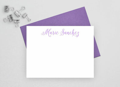 Personalized note card set with purple envelope.