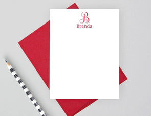 Women's personalized monogram note cards with red envelope.
