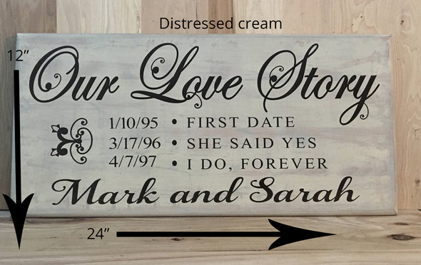 12x24 distressed cream wedding sign with brown lettering
