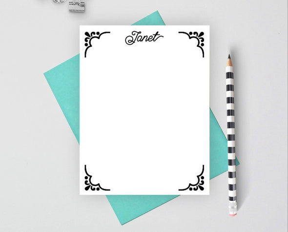 Decorative personalized stationery set.