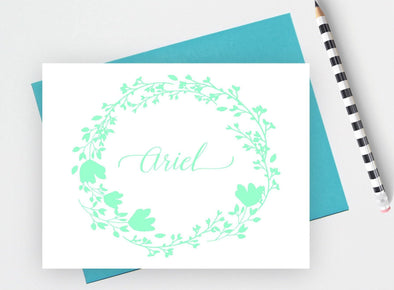Floral designed women's stationery note cards.