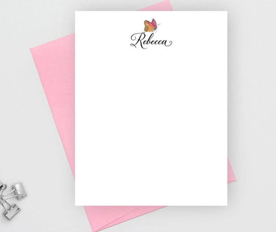 Personalized butterfly note card with candy envelope.
