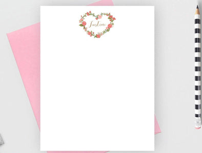 Floral heart personalized note cards with candy envelope.