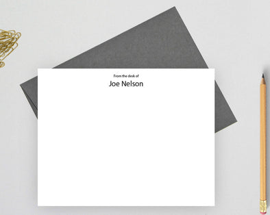 From the desk of note cards personalized stationery with gray envelope.