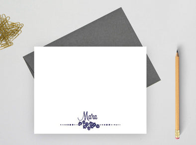 Floral personalized note cards for women.