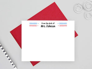 Personalized teacher note cards with red envelopes.