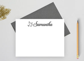 Dove design personalized stationery set.