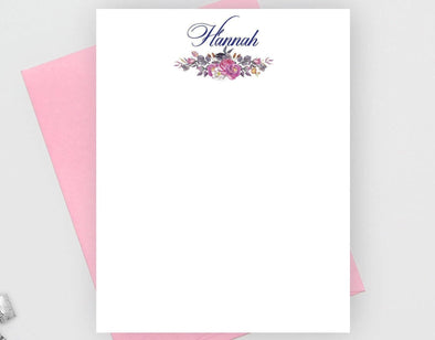 Personalized floral note cards.