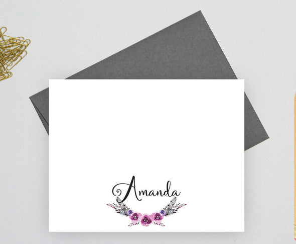 Bohemian personalized note card with gray envelope.